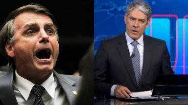 Montagem de Bolsonaro de boca aberta e Bonner apresentando Jornal Nacional