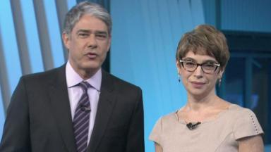 William Bonner e Renata Lo Prete na cobertura das Eleições 2020, na Globo