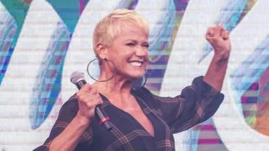 Xuxa em participação no Caldeirão do Huck, na Globo