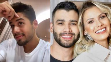 Zé Felipe (à esquerda) e Gusttavo Lima e Andressa Suita (à direita) em foto montagem