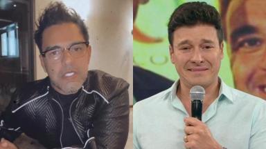 À esquerda, Zezé Di Camargo se explica em vídeo sobre polêmica com Rodrigo Faro; à direita, o apresentadora chora em homenagem feita a Gugu Liberato no programa Hora do Faro