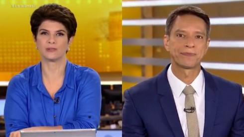 Mariana Godoy e Sérgio Aguiar na bancada do Fala Brasil da Record