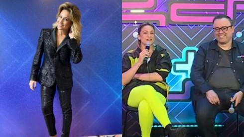 Montagem de Fernanda Gentil de pé, com a mão no cabelo e sentada ao lado de Everaldo Marques na coletiva de imprensa do Zig Zag Arena