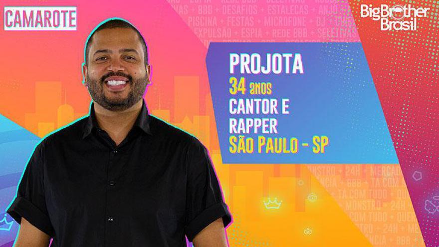 O cantor e rapper Projota, de 34 anos, nasceu em São Paulo