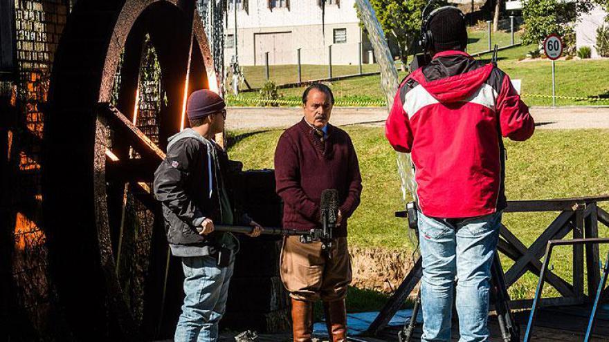 Jayme Monjardim e Adriano Melo nas gravações de Tempo de Amar no Sul