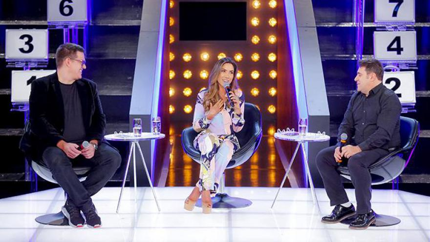 Michael Ukstin, Patrícia Abravanel e Fernando Pelégio, diretor artístico do SBT