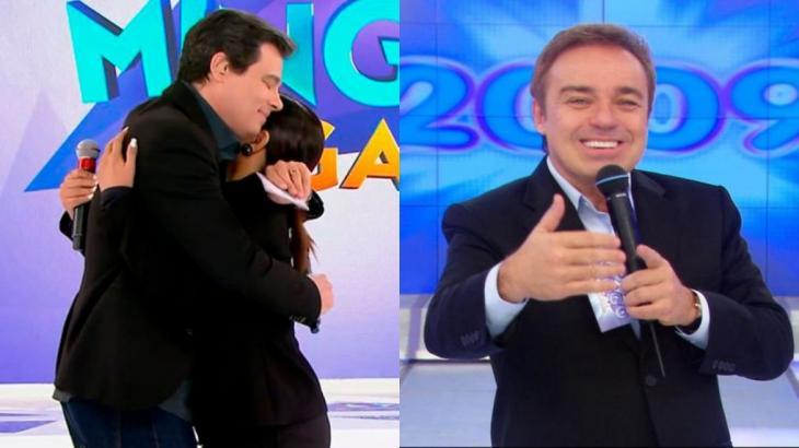 Celso Portiolli abraça Mara Maravilha em homenagem a Gugu (Foto: SBT/Reprodução)