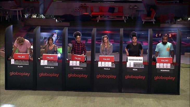 A cada rodada, os brothers tinham de indicar 'verdadeiro' ou 'falso' para as afirmações — Foto: Reprodução/Globo