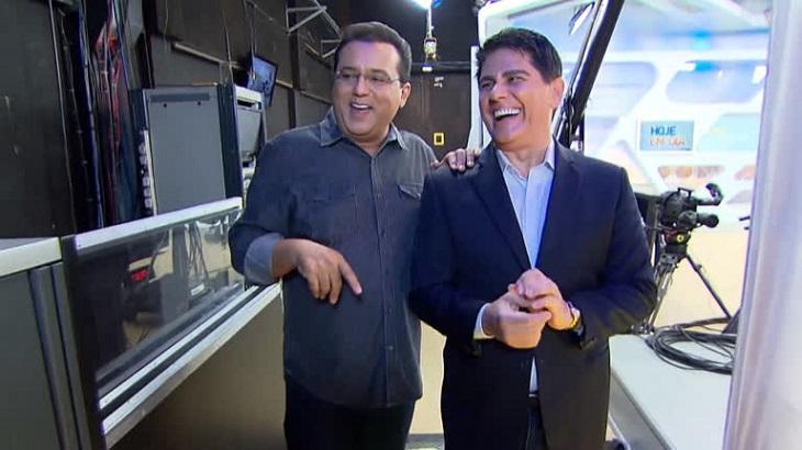 Geraldo Luis ao lado de César Filho em gravação do
