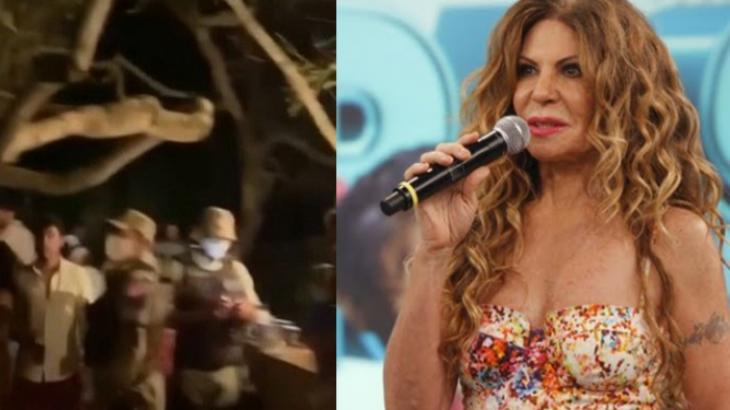 Montagem com a tela dividida na festa com polícia e Elba Ramalho segurando um microfone