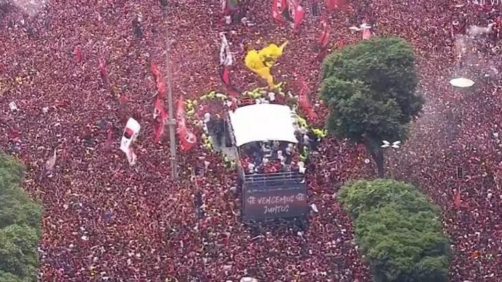 Festa da comemoração do título do Flamengo na Libertadores. Jogo bombou no Ibope. Foto: Divulgação
