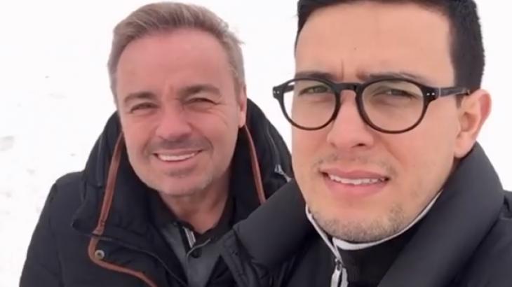 """Suposto namorado de Gugu publica vídeo de viagem com o apresentador: """"Juntos"""""""