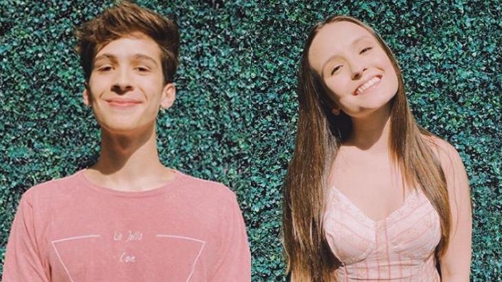 João Guilherme e Larissa Manoela durante bastidores da novela As Aventuras de Poliana, do SBT. (Reprodução/Instagram)