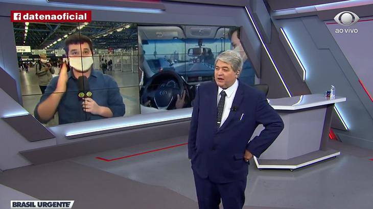 O apresentador José Luiz Datena e o repórter Felipe Garraffa no Brasil Urgente