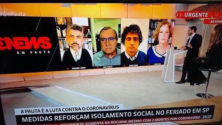 Marcelo Cosme, da GloboNews, defendeu isolamento social, dois dias depois de ser flagrado na praia - Foto: Reprodução