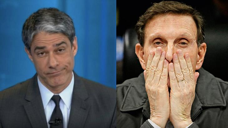 William Bonner noticiou nota de repudio contra Marcelo Crivella - Foto: Divulgação/Montagem