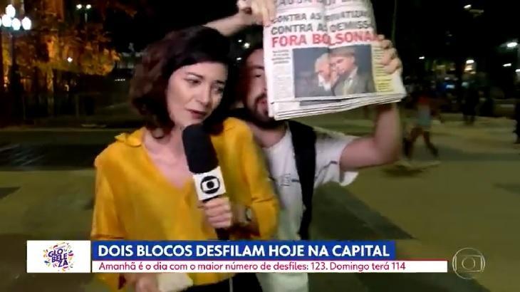 Laura Cassano tendo entrada ao vivo invadida por homem que protesta contra Bolsonaro