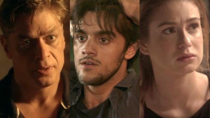 Arthur (Fábio Assunção), Jonatas (Felipe Simas), e Eliza (Marina Ruy Barbosa) em Totalmente Demais - Foto: Globo/Montagem