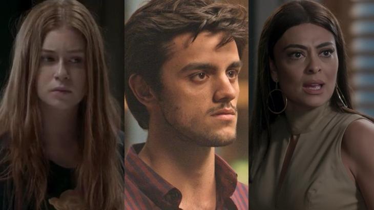 Eliza, Jonatas e Carolina em cena na novela Totalmente Demais