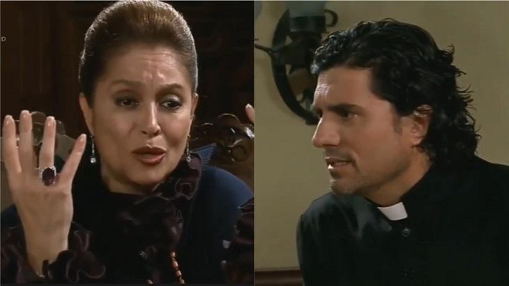Montagem de cenas de Triunfo do Amor com Bernarda e João Paulo