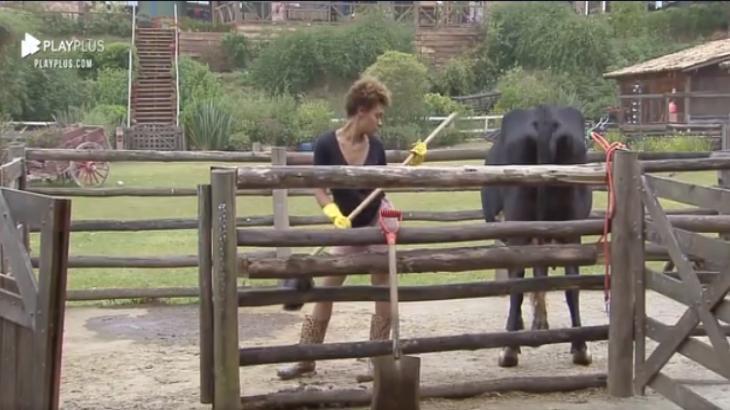 Na área dos animais, Lidi Lisboa cuida de vaca em A Fazenda 2020