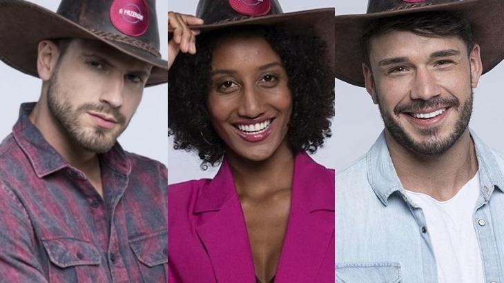 Guilherme Leão, Sabrina Paiva e Lucas Viana; os modelos do reality show A Fazenda 11 (Divulgação/Montagem)