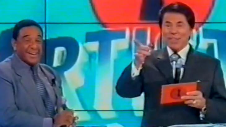 Agnaldo Timóteo e Silvio Santos na estreia da Casa dos Artistas 3, em 2002 - Reprodução/YouTube
