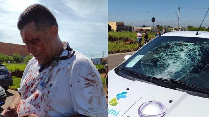 Foto montagem do cinegrafista agredido e carro da Thati Record apedrejado