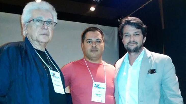Aguinaldo Silva, Silvio Cerceau e Marcelo Serrado em uma das aulas da Master Class - Fotos: Arquivo pessoal