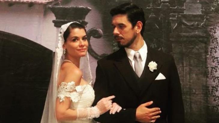 Alinne Moraes e João Vicente de Castro nos bastidores do casamento de Dora e Gustavo Bruno, em