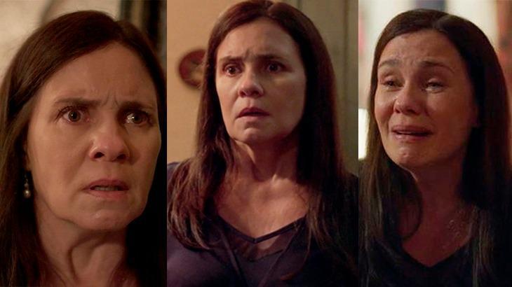 Montagem de três cenas de Amor de Mãe com Thelma brava