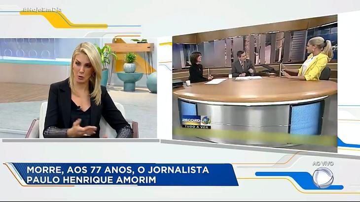 Ana Hickmann falou sobre a morte do jornalista Paulo Henrique Amorim - Foto: Reprodução/Record