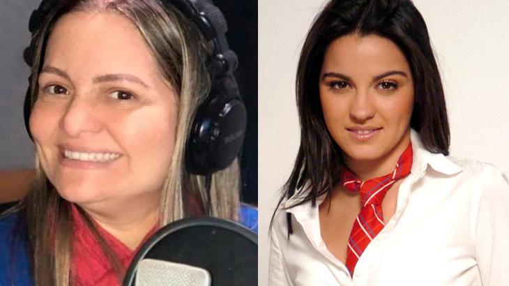 Ana Lucia Menezes em estúdio de gravação e Maite Perroni ao lado
