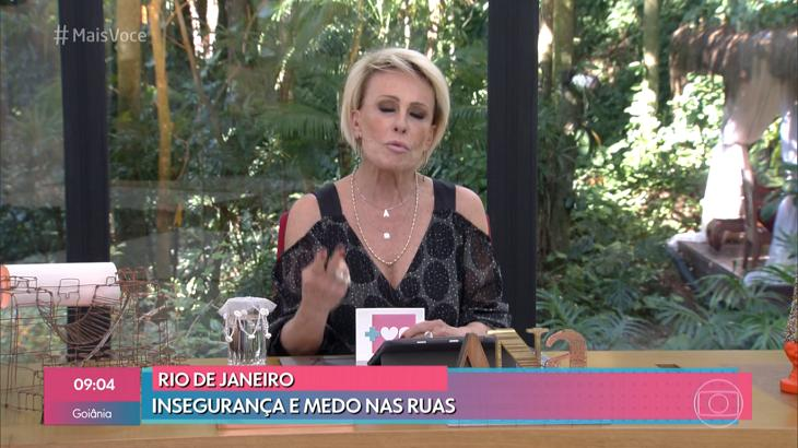 Ana Maria Braga falando sobre violência - Foto: Reprodução/Globo