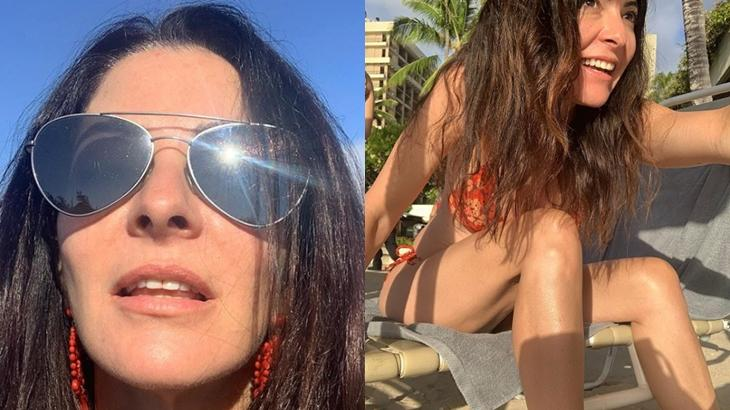 A apresentadora Ana Paula Padrão chamou a atenção por conta da barriga chapada na foto publicada no Instagram. (Reprodução)