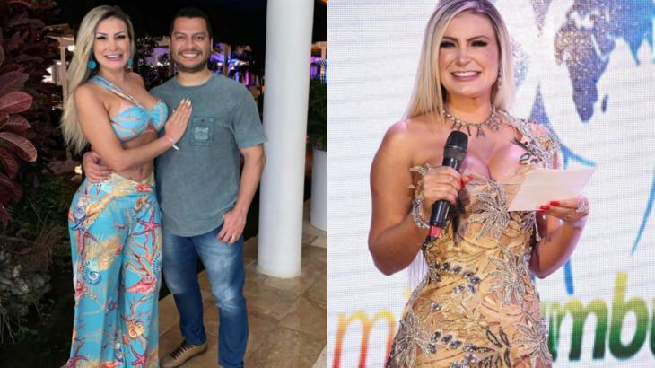 Na montagem de fotos, Andressa Urach e o marido, Thiago Lopes, aparecem abraçados e sorridentes e, ao lado, ela está sorridente usando o colar com o nome do marido no concurso Miss Bumbum 2021