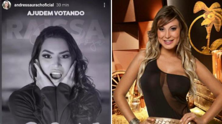 Andressa Urach faz campanha para Raissa Barbosa de A Fazenda 2020. Reprodução Instagram/RecordTV
