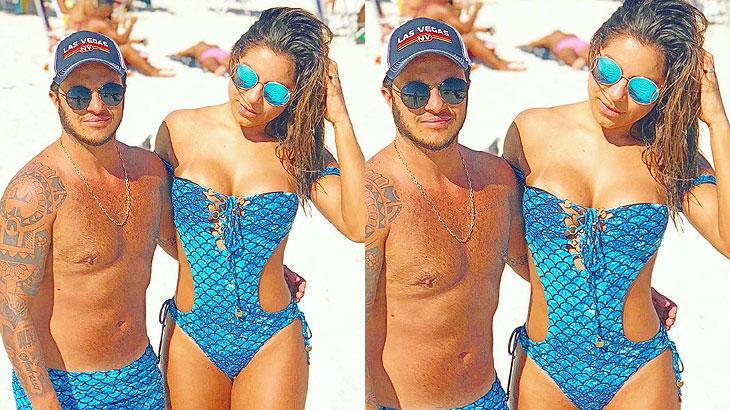 Thammy Miranda e Andressa Ferreira combinam look em dia de praia