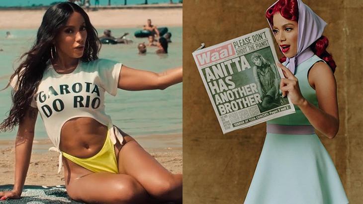 Montagem com Anitta na praia e segurando jornal em divulgação do novo clipe