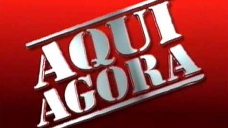 Logotipo do telejornal Aqui Agora no SBT