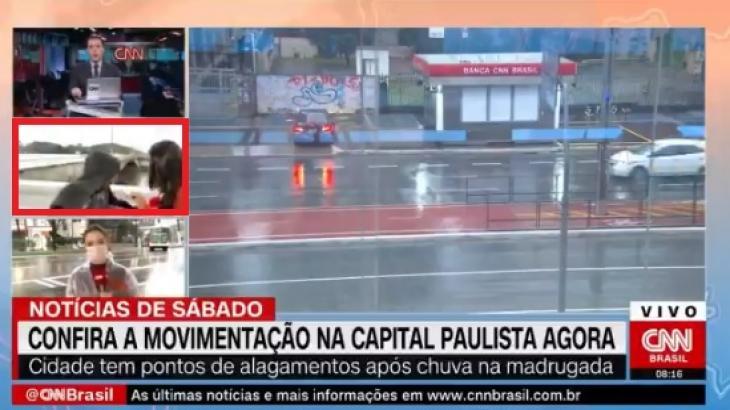 Momento em que repórter Bruna Macedo é surpreendida - Reprodução/CNN Brasil