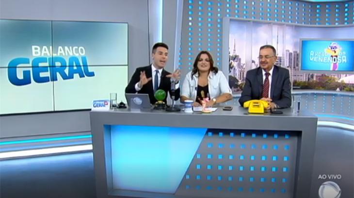 Luiz Bacci, Fabíola Reipert e Percival de Souza no Balanço Geral