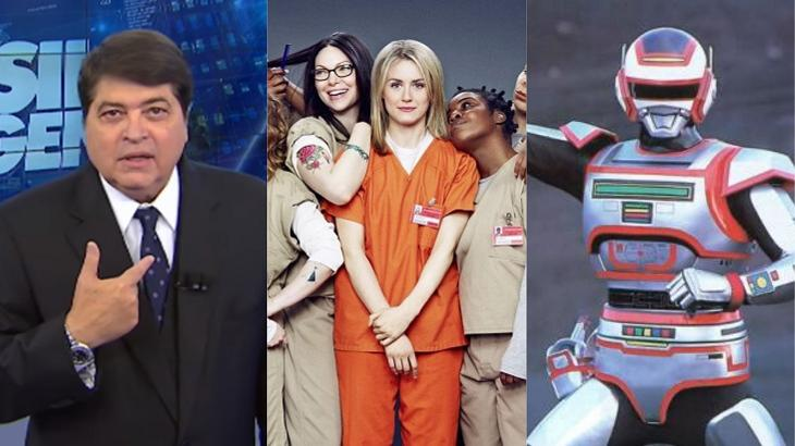 Datena, elenco de Orange is The New Black e Jaspion, da Band, em foto montagem