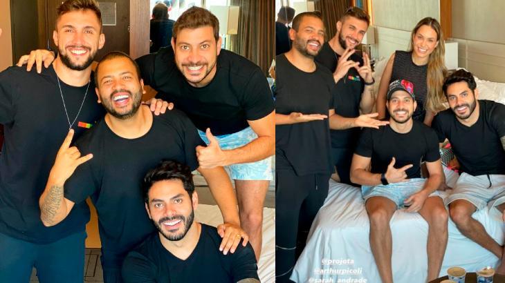 Na primeira foto aparecem Arthur, Projota, Caio e Rodolffo de camisa preta e sorridentes posando para foto; na segunda imagem Sarah aparece junto dos brothers