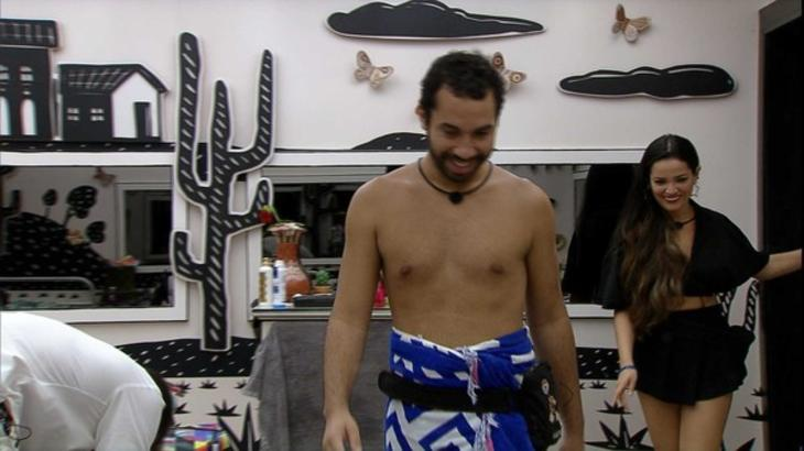 Gilberto e Juliette rindo no quarto cordel do BBB21