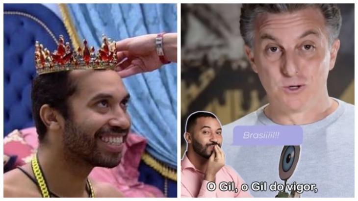 Foto um: Gilberto recebe coroa no quarto do líder; foto dois: Luciano Huck