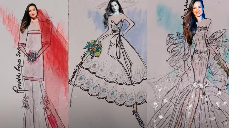 Desenhos de vestidos de noiva com o rosto de Juliette criados pelo estilista Ronaldo Ésper