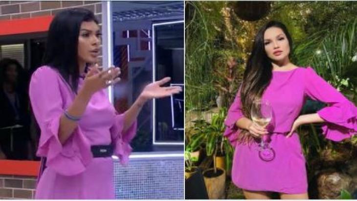 Pocah usa vestido de Juliette e Juliette usa vestido da discórdia com uma taça de vinho na mão