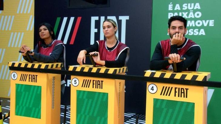 Pocah, Sarah e Rodolffo durante prova do líder