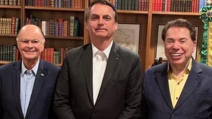 Jair Bolsonaro ao lado de Edir Macedo e Silvio Santos